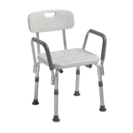 Drive Medical 12445KD-1 Knock Down Bath Bench w/ Back and Padded Arms